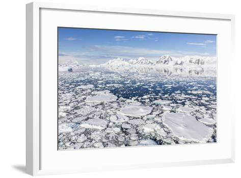 Snow-Covered Mountains Line the Ice Floes in Penola Strait, Antarctica, Polar Regions-Michael Nolan-Framed Art Print