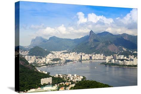 Aerial View of the City and Serra Da Carioca Mountains with Botafogo Bay-Alex Robinson-Stretched Canvas Print