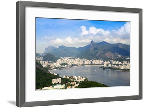 Aerial View of the City and Serra Da Carioca Mountains with Botafogo Bay-Alex Robinson-Framed Art Print