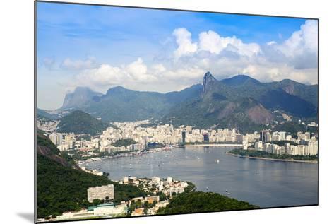 Aerial View of the City and Serra Da Carioca Mountains with Botafogo Bay-Alex Robinson-Mounted Photographic Print