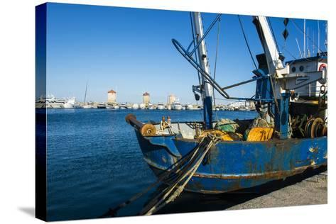 Fishing Boat in the Habour of the City of Rhodes, Rhodes, Dodecanese Islands, Greek Islands, Greece-Michael Runkel-Stretched Canvas Print