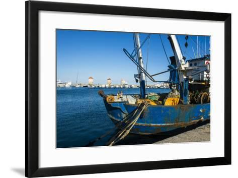 Fishing Boat in the Habour of the City of Rhodes, Rhodes, Dodecanese Islands, Greek Islands, Greece-Michael Runkel-Framed Art Print