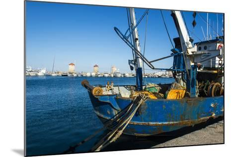 Fishing Boat in the Habour of the City of Rhodes, Rhodes, Dodecanese Islands, Greek Islands, Greece-Michael Runkel-Mounted Photographic Print