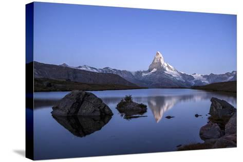 The Matterhorn Reflected in Stellisee at Sunrise-Roberto Moiola-Stretched Canvas Print