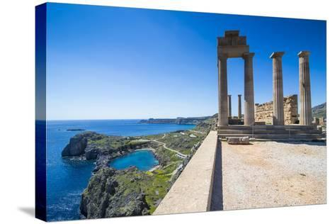 Acropolis of Lindos, Rhodes, Dodecanese Islands, Greek Islands, Greece, Europe-Michael Runkel-Stretched Canvas Print