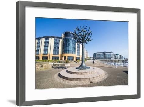 Modern Sculpture in the Harbour of St. Helier, Jersey, Channel Islands, United Kingdom, Europe-Michael Runkel-Framed Art Print