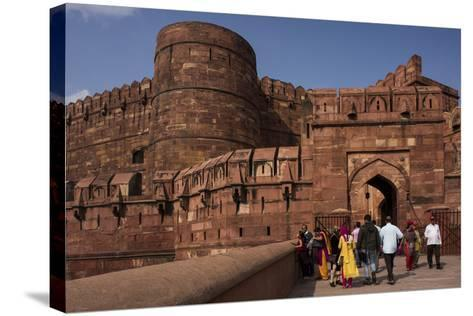 Exterior of Agra Fort, UNESCO World Heritage Site, Agra, Uttar Pradesh, India, Asia-Ben Pipe-Stretched Canvas Print