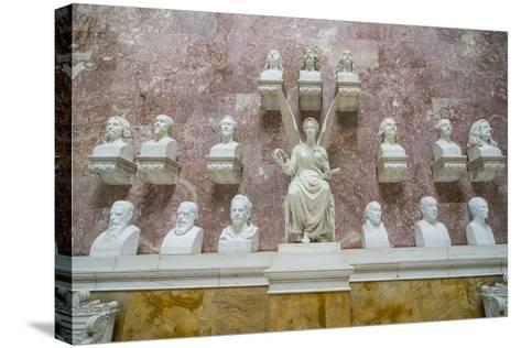 Commemorative Plaques in the Interior of the Neo-Classical Walhalla Hall of Fame on the Danube-Michael Runkel-Stretched Canvas Print