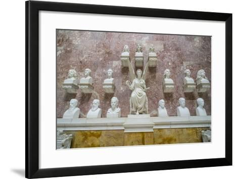 Commemorative Plaques in the Interior of the Neo-Classical Walhalla Hall of Fame on the Danube-Michael Runkel-Framed Art Print