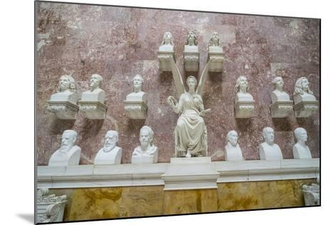 Commemorative Plaques in the Interior of the Neo-Classical Walhalla Hall of Fame on the Danube-Michael Runkel-Mounted Photographic Print