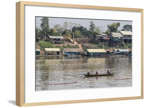 Cham People Using a Dai Fishing System for Trei Real Fish on the Tonle Sap River, Cambodia-Michael Nolan-Framed Art Print