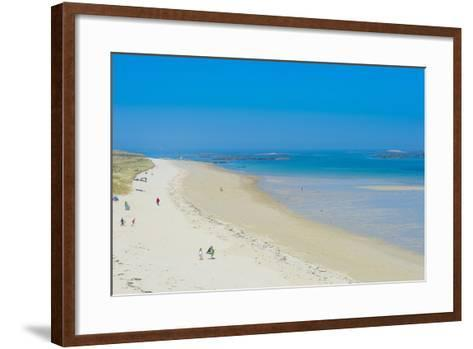View over Shell Beach, Herm, Channel Islands, United Kingdom-Michael Runkel-Framed Art Print