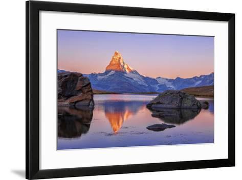 Pink Sky at Sunrise on the Matterhorn Reflected in Stellisee-Roberto Moiola-Framed Art Print