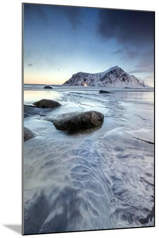 Sunset on the Surreal Skagsanden Beach Surrounded by Snow Covered Mountains-Roberto Moiola-Mounted Photographic Print