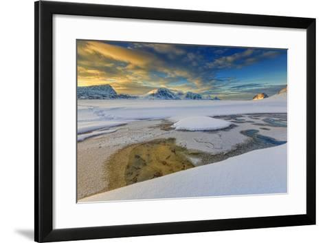 The Golden Sunrise Reflected in a Pool of the Clear Sea Where the Snow Has Melted-Roberto Moiola-Framed Art Print