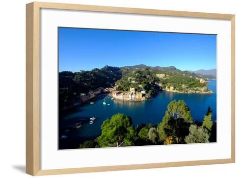 The Bay of Portofino Seen from Castello Brown, Genova (Genoa), Liguria, Italy, Europe-Carlo Morucchio-Framed Art Print