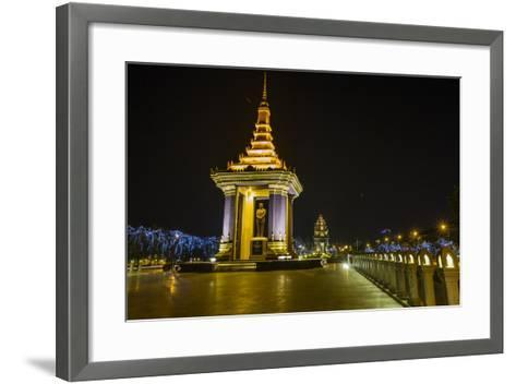 Night Photograph of the Statue of Norodom Sihanouk, Phnom Penh, Cambodia, Indochina-Michael Nolan-Framed Art Print