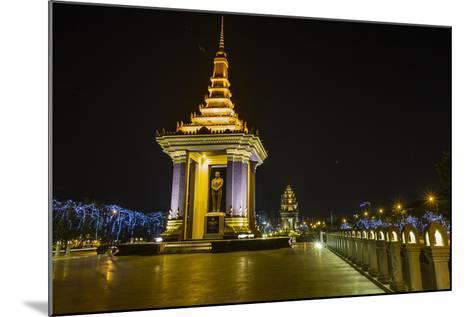 Night Photograph of the Statue of Norodom Sihanouk, Phnom Penh, Cambodia, Indochina-Michael Nolan-Mounted Photographic Print