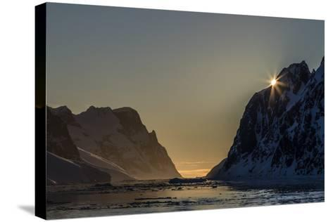 Sunset over Booth Island in the Waters of the Lemaire Channel, Antarctica, Polar Regions-Michael Nolan-Stretched Canvas Print