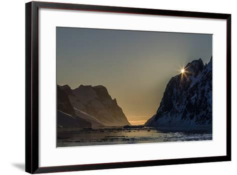 Sunset over Booth Island in the Waters of the Lemaire Channel, Antarctica, Polar Regions-Michael Nolan-Framed Art Print
