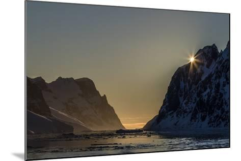 Sunset over Booth Island in the Waters of the Lemaire Channel, Antarctica, Polar Regions-Michael Nolan-Mounted Photographic Print