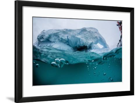 Above and Below Water View of Iceberg at Booth Island, Antarctica, Polar Regions-Michael Nolan-Framed Art Print