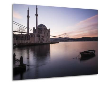 Exterior of Ortakoy Mosque and Bosphorus Bridge at Dawn, Ortakoy, Istanbul, Turkey-Ben Pipe-Metal Print