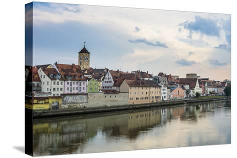 Danube River and Skyline of Regensburg, Bavaria, Germany-Michael Runkel-Stretched Canvas Print
