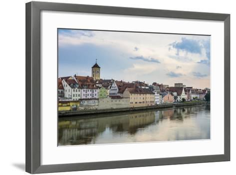 Danube River and Skyline of Regensburg, Bavaria, Germany-Michael Runkel-Framed Art Print