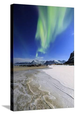 Northern Lights (Aurora Borealis) on Gymsoyan Sky-Roberto Moiola-Stretched Canvas Print