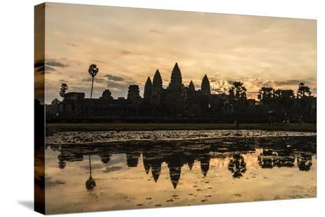 Sunrise over the West Entrance to Angkor Wat, Angkor, Siem Reap, Cambodia-Michael Nolan-Stretched Canvas Print