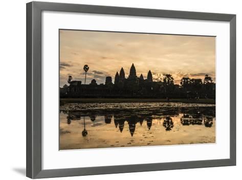 Sunrise over the West Entrance to Angkor Wat, Angkor, Siem Reap, Cambodia-Michael Nolan-Framed Art Print