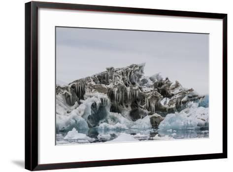 Iceberg with Moraine Material and Icicles at Booth Island, Antarctica, Polar Regions-Michael Nolan-Framed Art Print