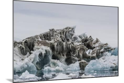 Iceberg with Moraine Material and Icicles at Booth Island, Antarctica, Polar Regions-Michael Nolan-Mounted Photographic Print