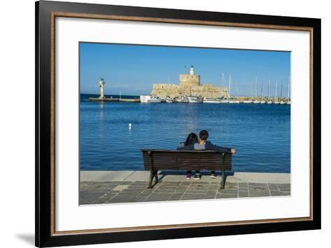 The Old Agios Nikolaos Fortress and Lighthouse in Mandraki Harbour-Michael Runkel-Framed Art Print