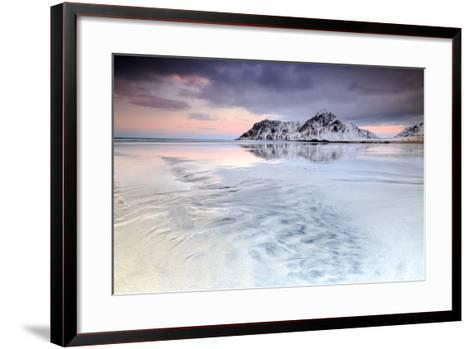 Sunset on Skagsanden Beach Surrounded by Snow Covered Mountains Reflected in the Cold Sea-Roberto Moiola-Framed Art Print