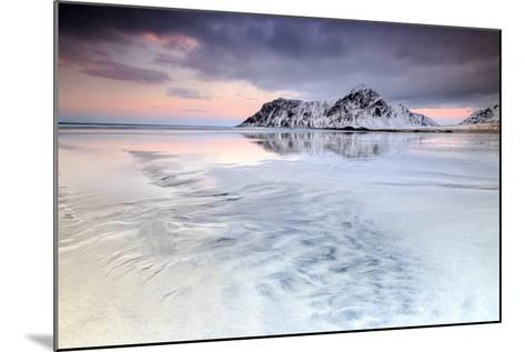 Sunset on Skagsanden Beach Surrounded by Snow Covered Mountains Reflected in the Cold Sea-Roberto Moiola-Mounted Photographic Print