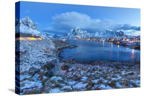 Blue of Dusk Dominates the Scenery in Reine, Lofoten Islands, Arctic, Norway, Scandinavia-Roberto Moiola-Stretched Canvas Print