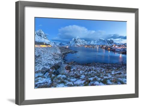 Blue of Dusk Dominates the Scenery in Reine, Lofoten Islands, Arctic, Norway, Scandinavia-Roberto Moiola-Framed Art Print