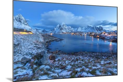 Blue of Dusk Dominates the Scenery in Reine, Lofoten Islands, Arctic, Norway, Scandinavia-Roberto Moiola-Mounted Photographic Print