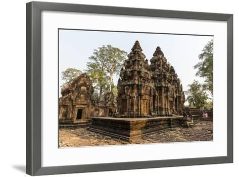 Ornate Carvings in Red Sandstone at Banteay Srei Temple in Angkor, Siem Reap, Cambodia-Michael Nolan-Framed Art Print