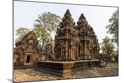 Ornate Carvings in Red Sandstone at Banteay Srei Temple in Angkor, Siem Reap, Cambodia-Michael Nolan-Mounted Photographic Print