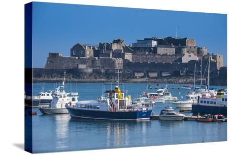 Fishing Boats Below Cornet Castle, Saint Peter Port, Guernsey, Channel Islands, United Kingdom-Michael Runkel-Stretched Canvas Print