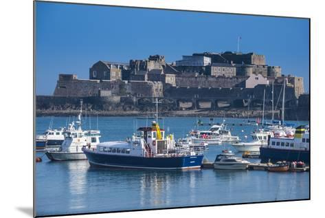 Fishing Boats Below Cornet Castle, Saint Peter Port, Guernsey, Channel Islands, United Kingdom-Michael Runkel-Mounted Photographic Print