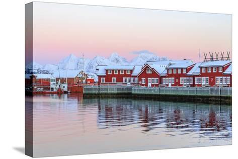 Pink Sunset over the Typical Red Houses Reflected in the Sea-Roberto Moiola-Stretched Canvas Print