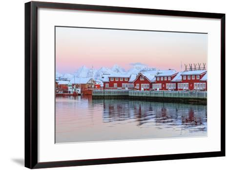Pink Sunset over the Typical Red Houses Reflected in the Sea-Roberto Moiola-Framed Art Print