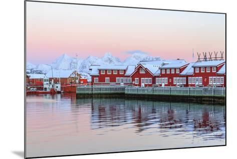 Pink Sunset over the Typical Red Houses Reflected in the Sea-Roberto Moiola-Mounted Photographic Print