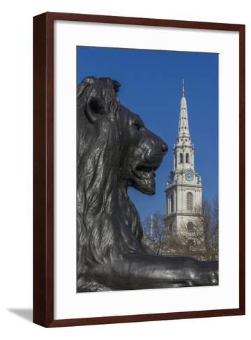 Lion at Foot of Nelson's Column and St. Martin-In-The-Fields Church-Rolf Richardson-Framed Art Print
