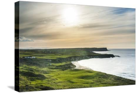 View over Whitepark Bay (White Park Bay), County Antrim, Ulster, Northern Ireland, United Kingdom-Michael Runkel-Stretched Canvas Print