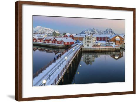 Hikers Admire Sunset Colors on the Typical Red Houses from a Deck-Roberto Moiola-Framed Art Print